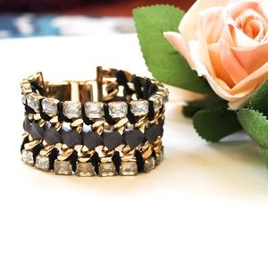 Stella & Dot Rhinestone Gold Tone Cuff Bracelet